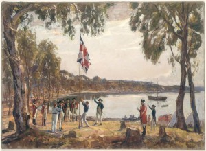 SLNSW_404568_The_Founding_of_Australia_By_Capt_Arthur_Phillip_RN_Sydney_Cove_Jan_26th_1788_Original_oil_sketch_1937_by_Algernon_Talmage_RA